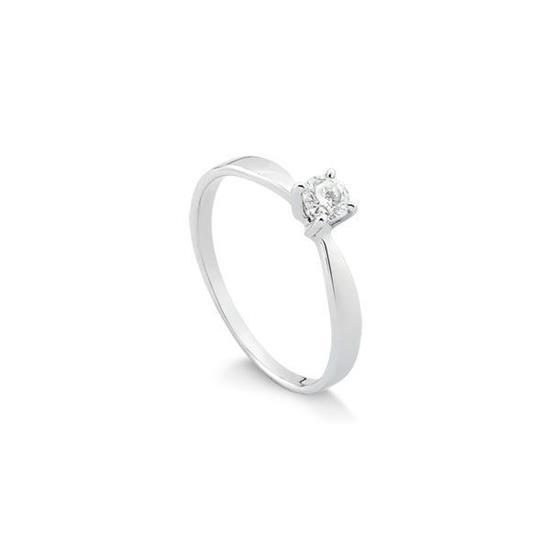 d87d142a91a80 Anel Solitário Ouro Branco 18k Com 20 Pontos de Diamantes