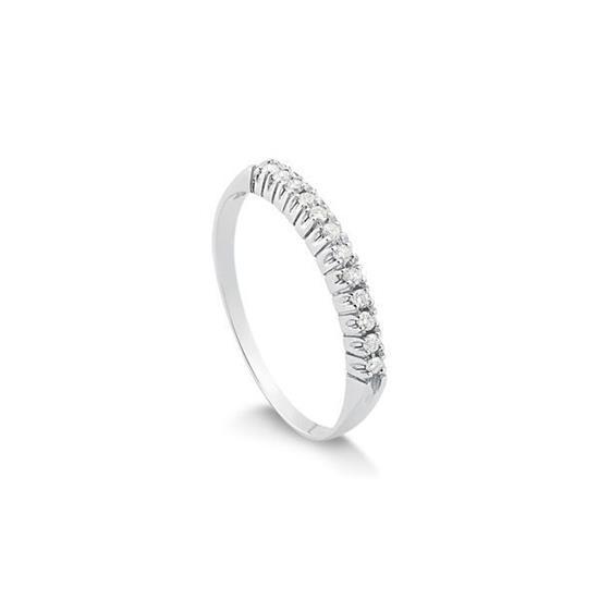 2cf99441a0c32 Anel Meia Aliança em Ouro Branco 18k Com 12 Pontos de Diamantes