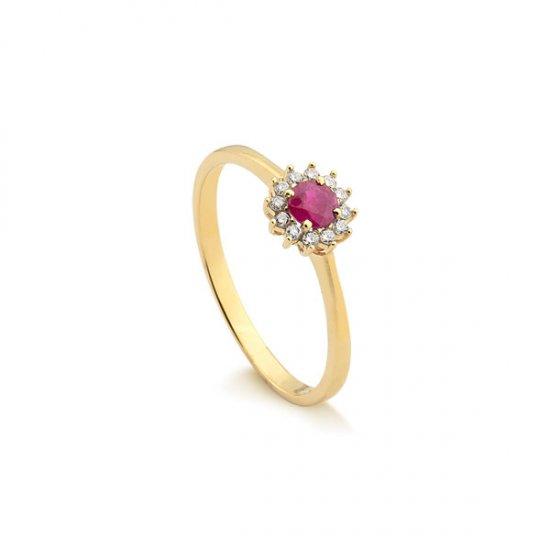 0139ccdb2d8ef Anel em Ouro 18k Com Diamante e Rubi