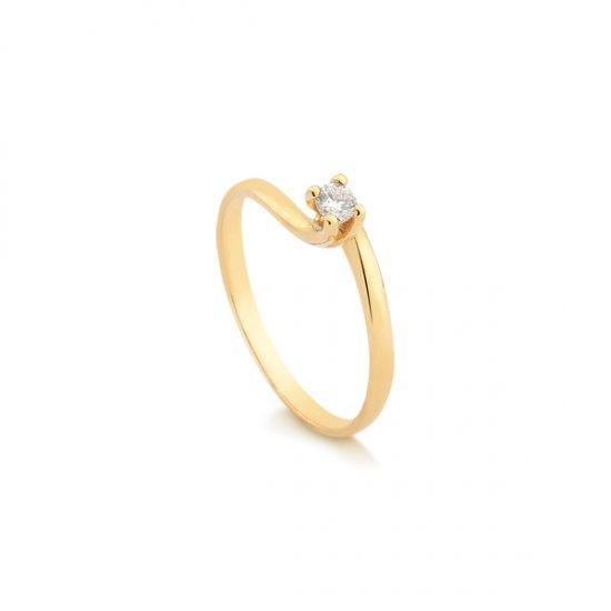 002c8f498ec06 Anel Solitário Ouro 18k Com 10 Pontos de Diamante