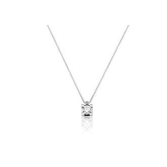 fc5cf81147bb2 Corrente em Ouro Branco 18k com Diamante e Pingente Ponto de Luz