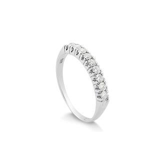 a0e3fe19ae061 Anel Meia Aliança Ouro Branco com 36 Pontos de Diamante