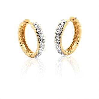 790308ccfba4b Brinco de Argola Pavê em Ouro 18k com Diamantes