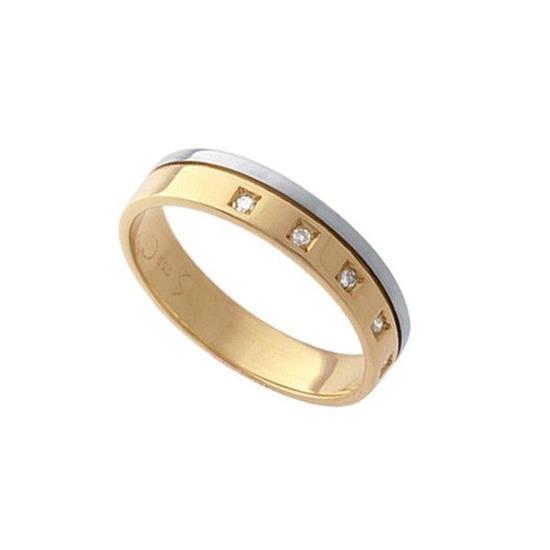 5a48c51c2936c Aliança em Ouro Amarelo Branco 18K com 5 Pontos de Diamante