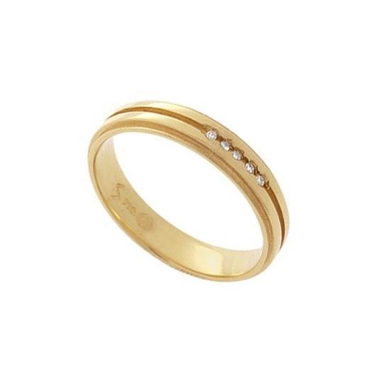 8b4b56f80e3ba Aliança Ouro Amarelo 18K Com 5 Pontos de Diamantes
