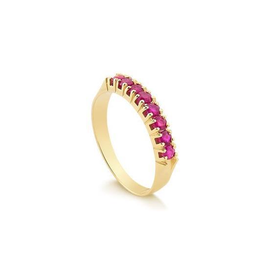 Anéis Safira   Anel Meia Aliança em Ouro 18k com Rubi 14a2612990