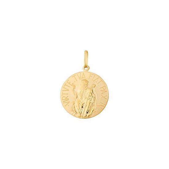 4d266a72d62d7 Pingente Proteção Safira   Pingente Medalha de São Bento em Ouro 18k