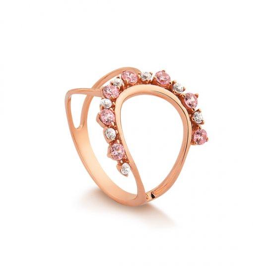 fa09cfcc826cd Imagem - Anel em prata com Banho em Ouro rosé. Por R  250,00. 1. Cor.  Tamanho. Brinco Ear Cuff Folhas ...