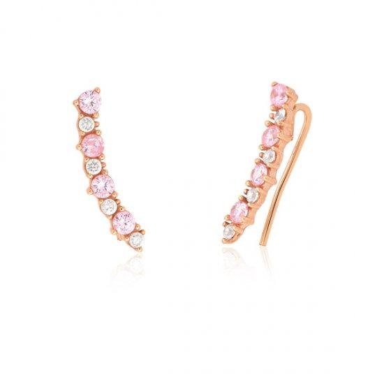 Coleção Garden Safira   Brinco Ear Cuff em Prata e Banho em Ouro rosé 5c86dbe67b