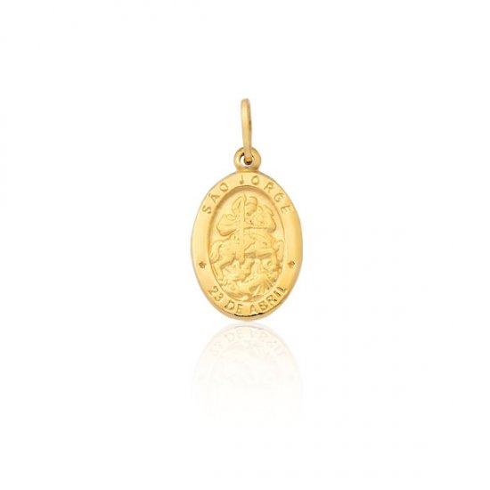 Pingente Proteção Safira   Pingente São Jorge em Ouro 18k 71dae87255