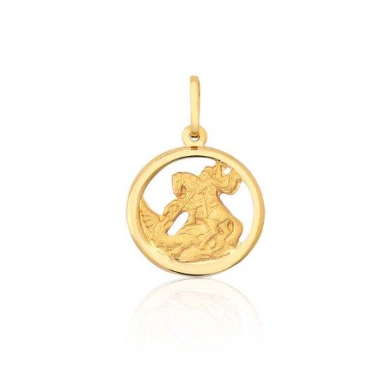 Pingente Proteção Safira   Pingente São Jorge Vazado em Ouro 18k 36eab08fd7