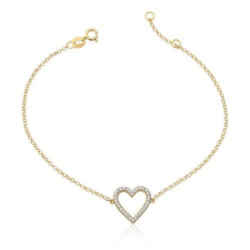 ff02adf7daf Pulseira Coração em Ouro 18k com Zircônia