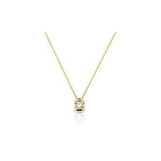 Corrente em Ouro Amarelo 18k com Diamante e Pingente Ponto de Luz bb0f967c74