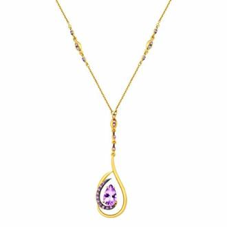 960b15a19e0c3 Gargantilha Ouro 18k Com Diamantes e Pedras Safira e Ametista