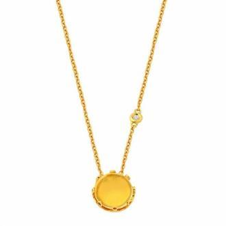 cc343e04cdf1d Gargantilha Ouro 18k Com Pedras de Diamante e Citrino