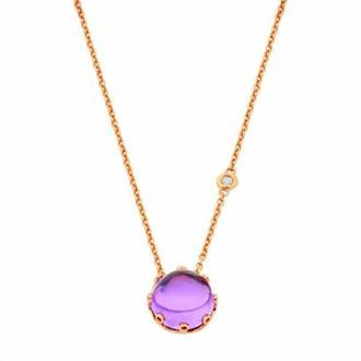 4850d8d616df4 Gargantilha Ouro 18k Com Pedras Diamante e Ametista