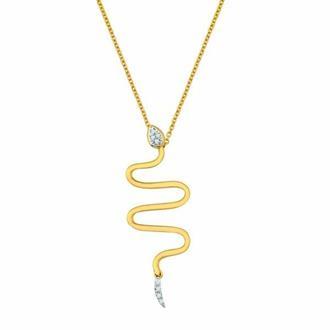 Corrente Ouro 18k Serpente Com 4 Pontos de Diamante fa63009285