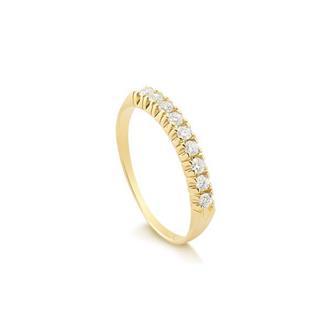 8b8c9e35c28b9 Anel Meia Aliança Em Ouro 18k com 27 Pontos de Diamantes