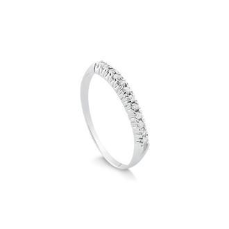 Anel Meia Aliança - Safira - Feminino - Material  Ouro Branco 18K ... 7bc8a49373