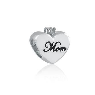 465b8db26e1ca Berloque Memory Coração Mom em Prata