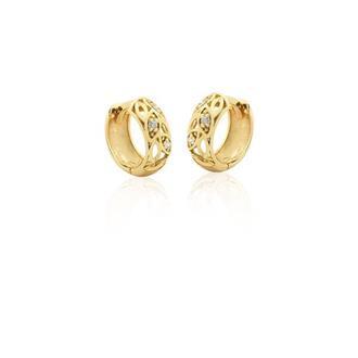 Brinco Argola em Ouro 18k com 5 Pontos de Diamante 515a3eb379