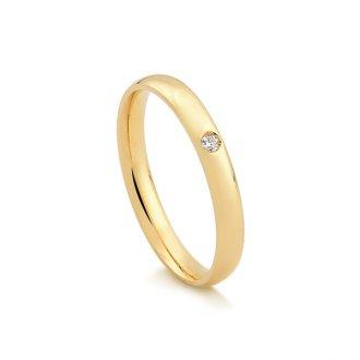 babc841538752 Aliança em Ouro 18k com 2 Pontos de Diamante