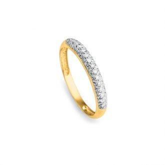 bd198f281c1b4 Anel Meia Aliança em Ouro 18k com Diamante