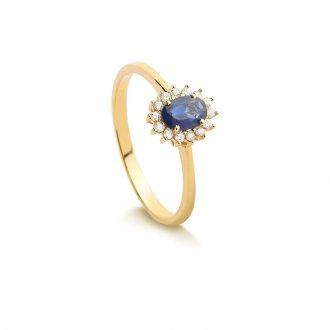 fe94ee496aa Anel em Ouro 18k Com Diamante e Safira