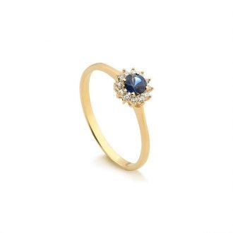 Anel em Ouro 18k Com Diamante e Safira ec9ef1f249
