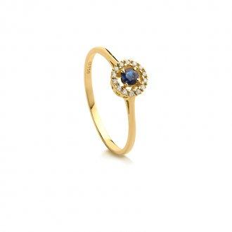 662778d366dd0 Anel em Ouro 18k Com Diamante e Safira