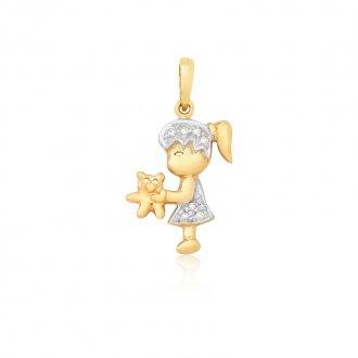 bddd764cc3c74 Pingente Boneca com Urso em Ouro 18k com Diamantes