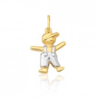 Pingente Boneco em Ouro Amarelo e Branco 18k dfb84eddfe