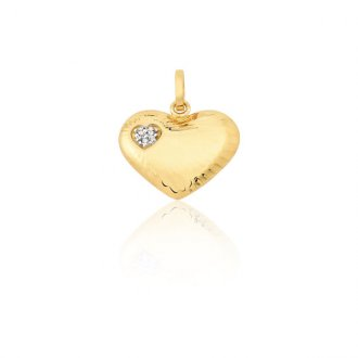 262e3d7f5d082 Pingente Coração em Ouro 18k com 3 Pontos de Diamante
