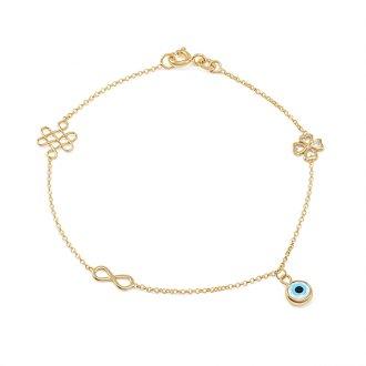 b577fcf4562 Pulseira Amuleto com Olho Grego em Ouro 18K