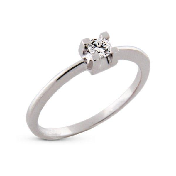 8baffca748238 Anel Solitário Ouro Branco 18k com 15 Pontos de Diamante