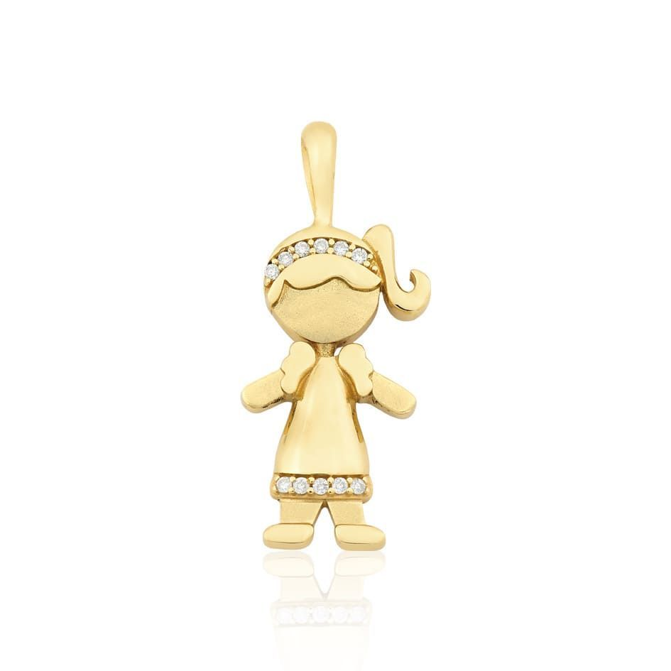 77a90bd0f66 Pingente Menina em Ouro 18k com 5 Pontos de Diamante