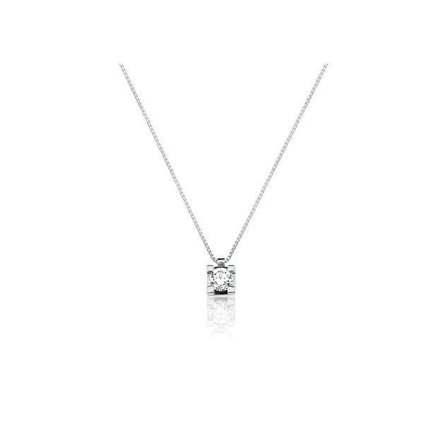 a06f98bbd0f50 Corrente em Ouro Branco 18k com Diamante e Pingente Ponto de Luz