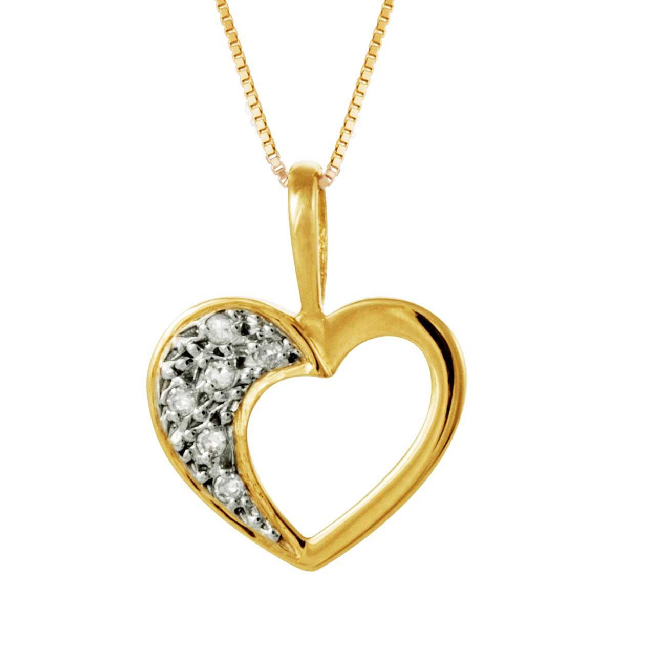 09fd8ef54288e Pingente Coração Safira   Pingente em Ouro 18k Coração Com 3 Pontos ...