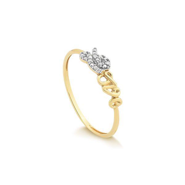 5df79f314e2 Anel em Ouro 18k Love com Diamante