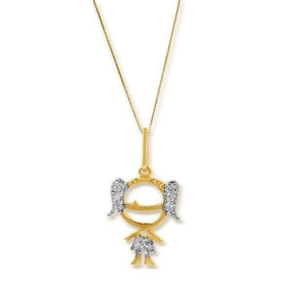 Pingente Bonecos Safira   Pingente Menina em Ouro 18k com Diamante 150d14d627
