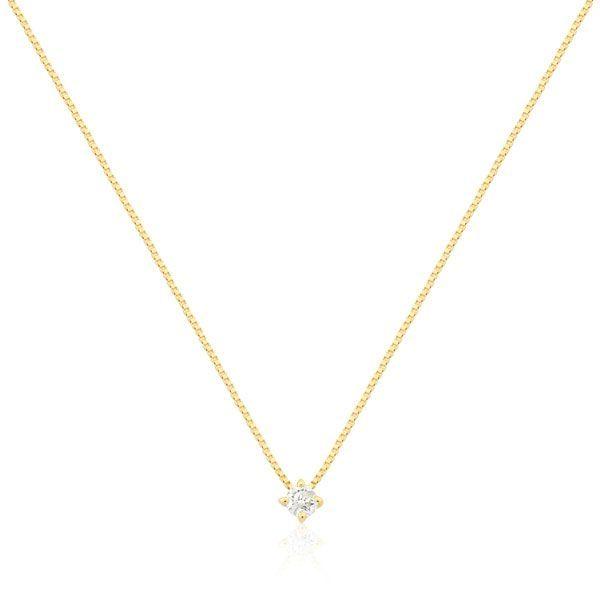 b6bab16ecf697 Gargantilha Ouro 18k com 5 Pontos de Diamante e Pingente Ponto de Luz