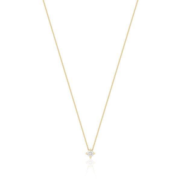 0e0a5528bd374 Gargantilha Ouro 18k com 10 Pontos de Diamante e Pingente Ponto de Luz