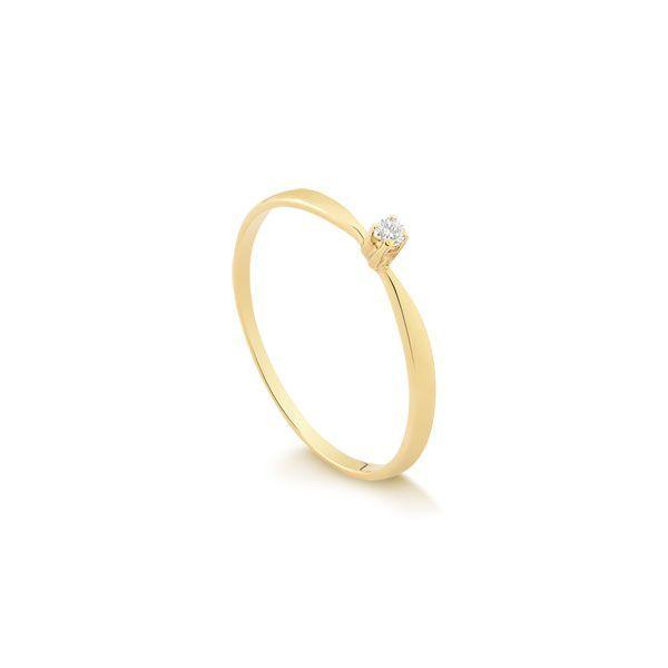 Debutantes · Safira · Anel Solitário Ouro 18k Com 3 Pontos de Diamantes e057b3c8de