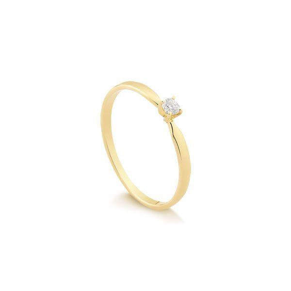 Anéis Safira   Anel Solitário Ouro 18k e 7 Pontos De Diamantes 8495a35242