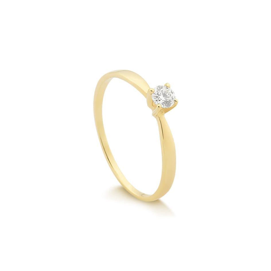38c0f45da6ffe Anel Solitário Ouro 18K com 20 Pontos de Diamantes