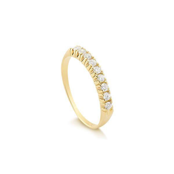 55abf8b31058e Anel Meia Aliança Em Ouro 18k com 27 Pontos de Diamantes