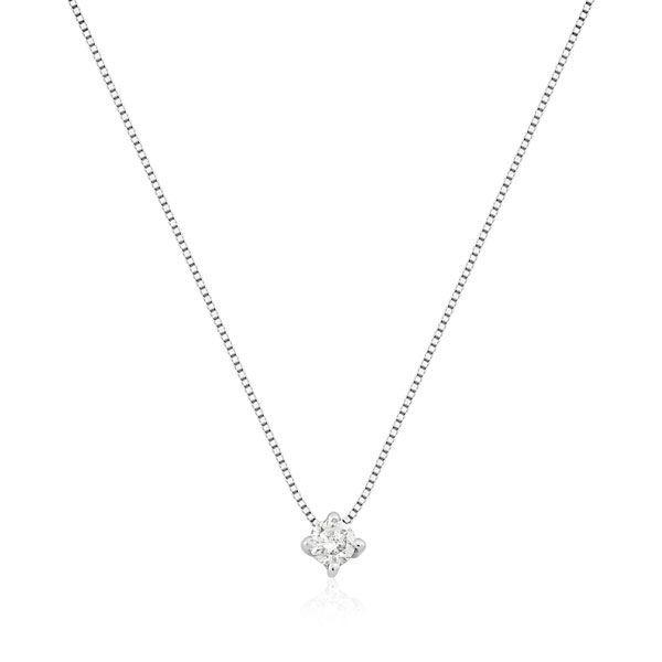 Gargantilhas Safira   Ponto de Luz Com 10 Pontos de Diamante 20615003df