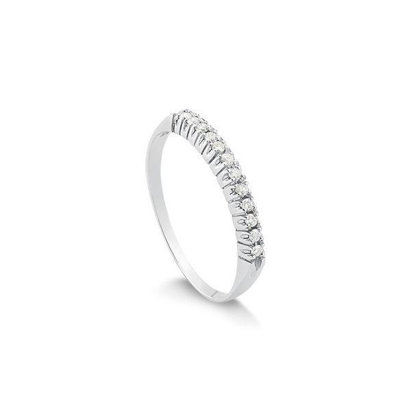 Anéis Safira   Anel Meia Aliança em Ouro Branco 18k Com 12 Pontos de ... f7174cfba9