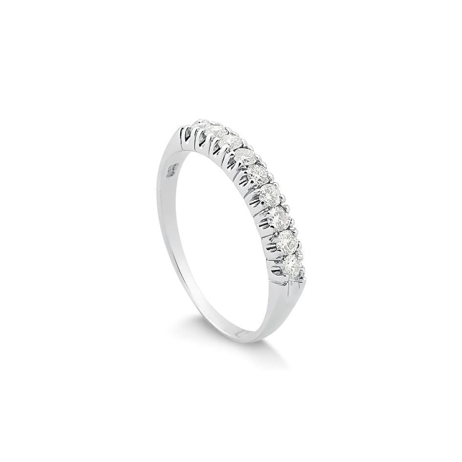 Anéis Safira   Anel Meia Aliança Ouro Branco com 36 Pontos de Diamante 1fdb22c7d9
