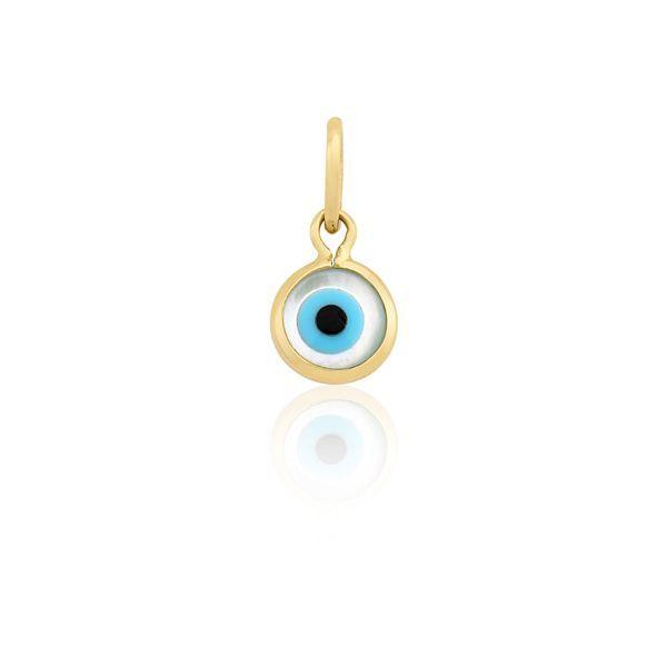 34e2494ab8ff2 Pingente Proteção Safira   Pingente Olho Grego em Ouro 18k